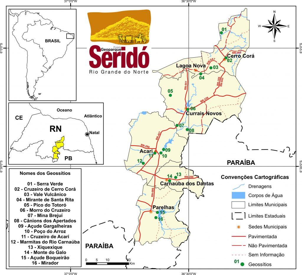 Localização da área do Projeto Geoparque Seridó e seus geossítios inventariados.